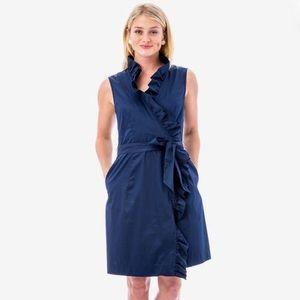 Elizabeth McKay Ruffle Wrap Dress in Navy